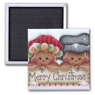 Imán de las Felices Navidad de la gente del pan de