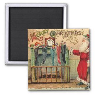 Imán de las medias del navidad del vintage