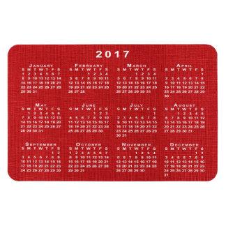 Imán de lino rojo del calendario de la foto 2017