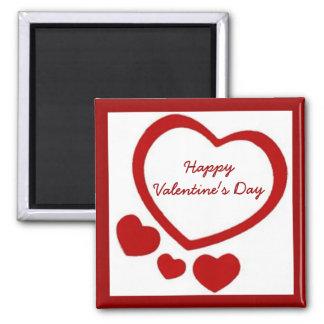 Imán de los corazones de la tarjeta del día de San