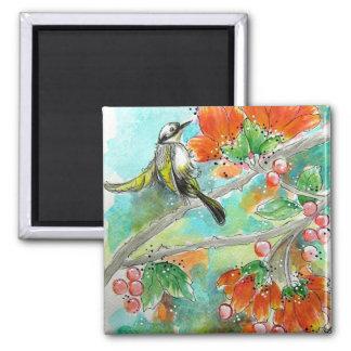 Imán de los flores del colibrí y del naranja