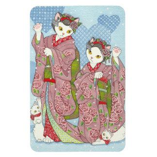 Imán de los gatos del kimono de la buena suerte de