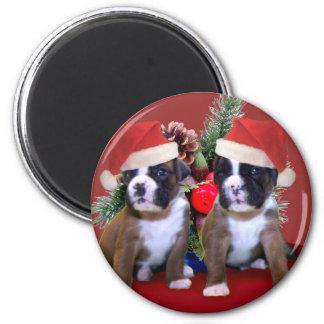 Imán de los perritos del boxeador del navidad