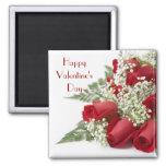 Imán de los rosas de la tarjeta del día de San Val