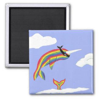 Imán de Ninja Narwhal del arco iris