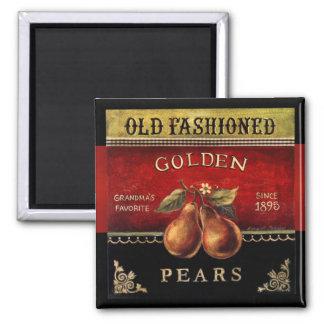 Imán de oro pasado de moda del vintage de las pera