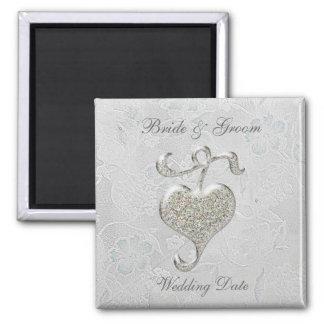 Imán de plata del favor del boda del corazón