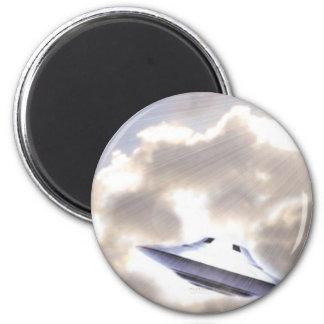Imán de plata del UFO Beamship