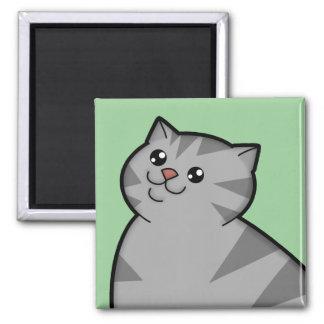 Imán de plata gordo feliz del cuadrado del gato de