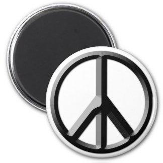 Imán de plata y negro del signo de la paz
