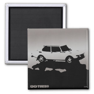 Imán de Saab 99 Turbo - plata en oscuridad