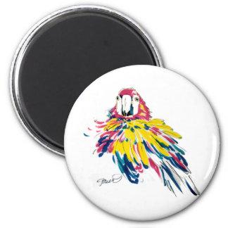 Imán de seda de la pintura del loro del Macaw del