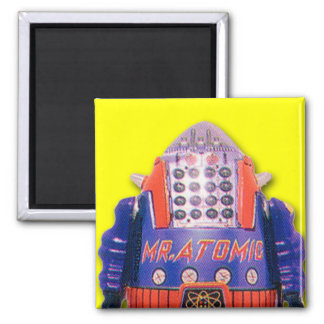 Imán de Sr. Atomic Toy Robot Square