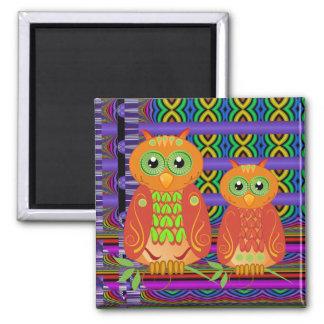 Imán decorativo lindo de los búhos del dibujo anim