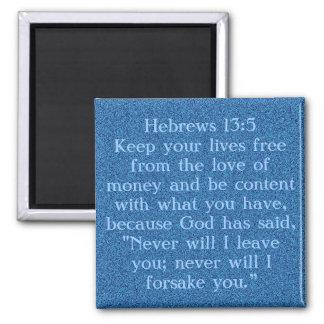 Imán del 13:5 de los hebreos del verso de la bibli