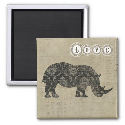 Imán del amor de la silueta de los rinocerontes