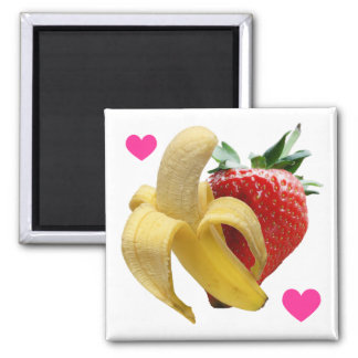 Imán del amor del plátano de la fresa