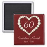Imán del aniversario del diamante del corazón del