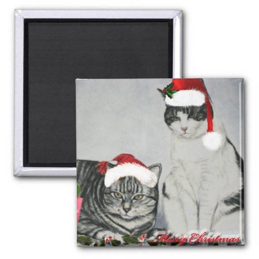 Imán del arte de dos gatos del navidad