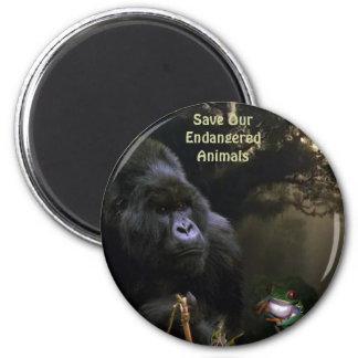 Imán del arte de la fauna del gorila y de la rana
