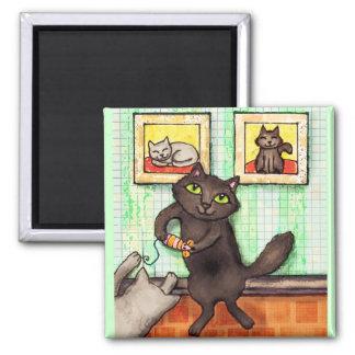 Imán del arte de los amigos del amante del gato qu