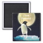 Imán del arte del amante del pingüino de la LUNA d