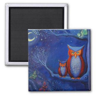 """Imán del arte del búho """"el bosque en la noche """""""