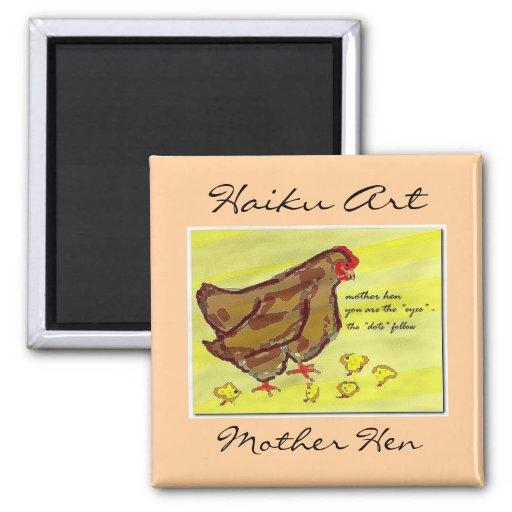 Imán del arte del Haiku de la gallina de la madre