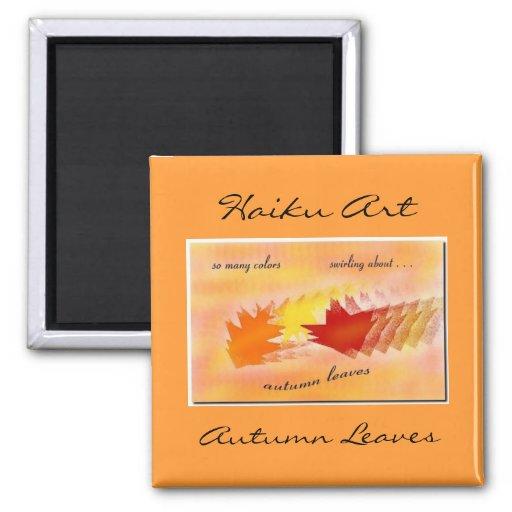 Imán del arte del Haiku de las hojas de otoño