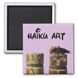 Imán del arte del Haiku de las palomas del polluel