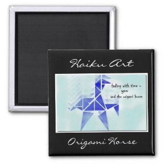Imán del arte del Haiku del caballo de Origami