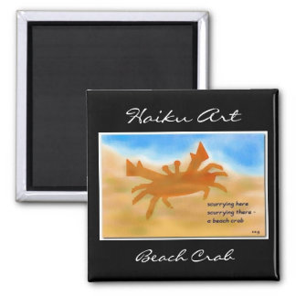 Imán del arte del Haiku del cangrejo de la playa