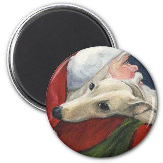 """Imán del arte del perro del """"galgo y de Santa"""""""