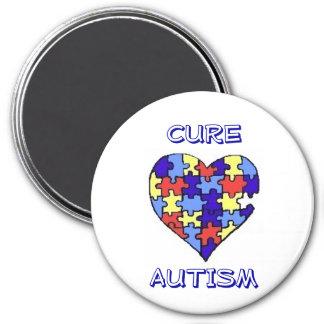 """""""Imán del autismo de la curación"""" Imán Redondo 7 Cm"""
