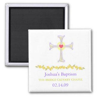 Imán del bautismo, diseño cruzado