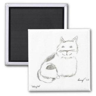 Imán del bosquejo del gatito - cuadrado