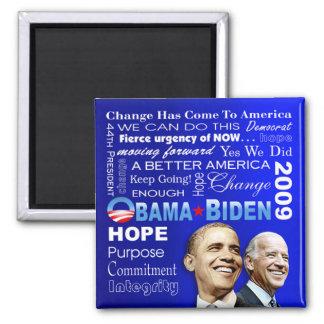 Imán del collage de Obama Biden (azul)