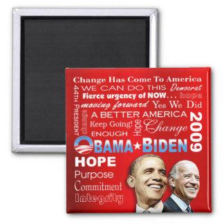 Imán del collage de Obama Biden (rojo)