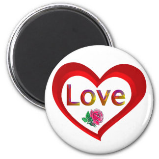 Imán del corazón del amor de la tarjeta del día de