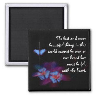 Imán del cuadrado de la cita del amor con las flor