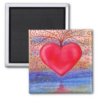 Imán del cuadrado de la reflexión del agua del cor