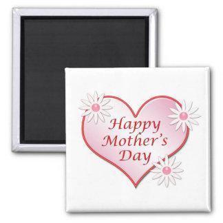 Imán del cuadrado del corazón del día de madre