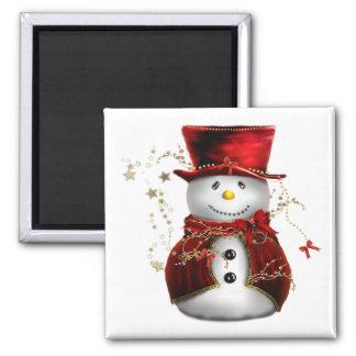 Imán del cuadrado del muñeco de nieve del navidad