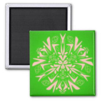 Imán del cuadrado del verde del arte abstracto