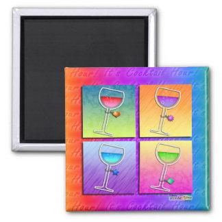 Imán del cuadrado del vino del arte pop