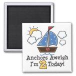 Imán del cumpleaños del velero Aweigh de las ancla