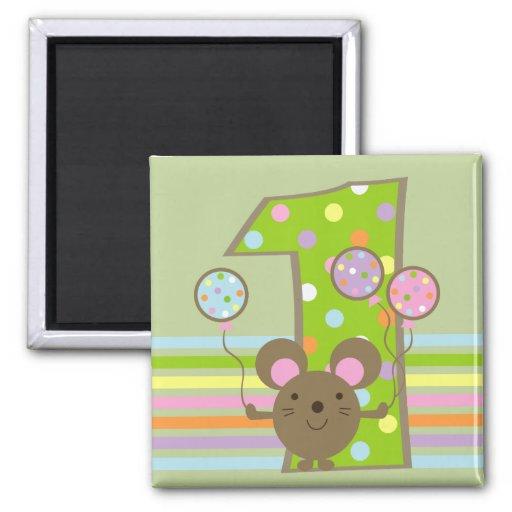 Imán del cumpleaños del verde del ratón del globo