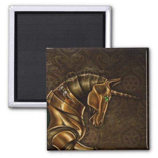 Imán del damasco del unicornio de Steampunk