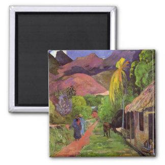 """""""Imán del de Tahití"""" - Paul Gauguin de la ruda Imán Cuadrado"""