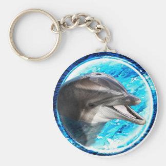 Imán del delfín llavero redondo tipo pin